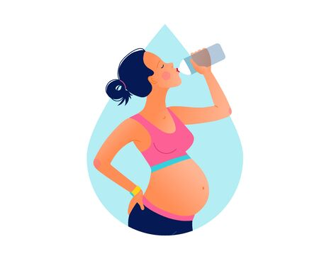 Young pregnant beautiful woman drinking water after training. Stay hydrated. Vektoros illusztráció