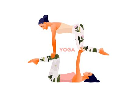 Woman practicing yoga exercise, yoga pose. International Yoga Day. Illustration