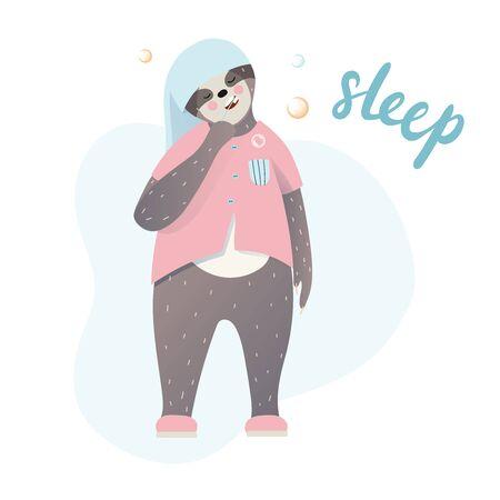 Lindo perezoso perezoso durmiendo en el baño y cepillarse los dientes. Letras de tipo sueño.