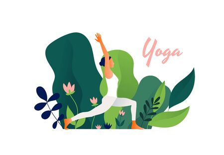 Woman practicing yoga exercise outdoor, yoga pose. Modern flat design concept of web page design or mobile website. International Yoga Day. Vector illustration Çizim