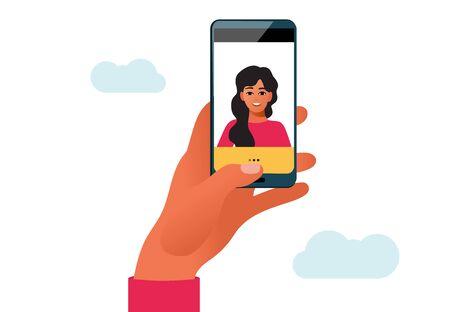 Woman taking selfie photo on smartphone. Vector cartoon illustration