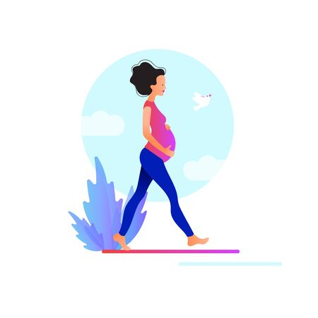 Pregnant woman walking. Active well fitted pregnant female character.