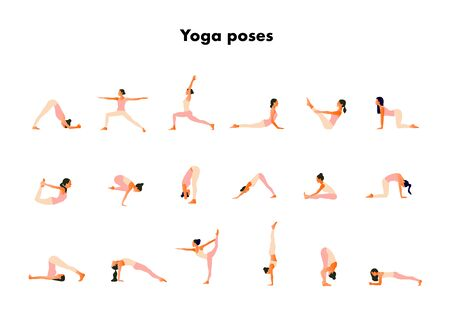 Tiny women performing yoga poses. Women practicing asanas and pelvic floor exercises.