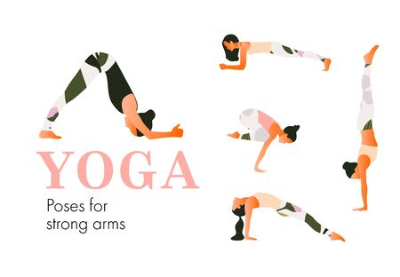 A set of yoga postures female figures for strong arms. Woman figures exercise in printed sportswear. Vector Illustration, flat style. Ilustração