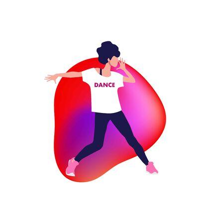 Active girl dancing Jazz funk, hip-hop, house dance, Illustration