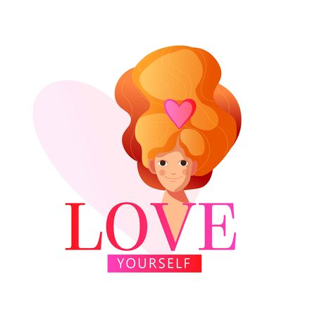 Love yourself type. Beautiful girl, queen or princess. Self-care. Golden crown. Design print for t-shirt, pin label, badges, sticker, greeting card, banner. Vector illustration