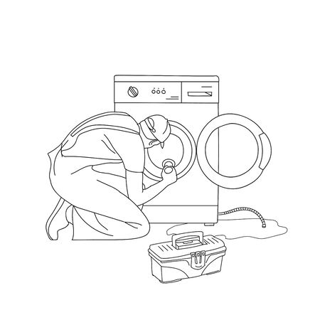 Broken washing machine. Service help. Problem with damaged home appliance vector Illustration on a white background. Ilustrace