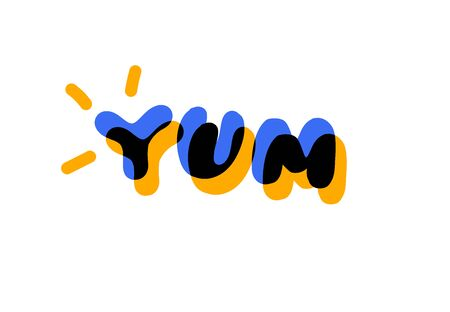 Yum text. Yummy concept design doodle for print. Printable graphic tee.