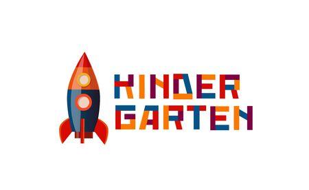 Preschool, kindergarten, playgroup logo icon design template with rocket. Ilustração