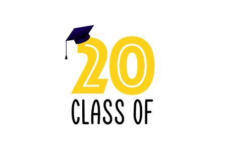 Class of 2020. Congratulation to Graduates. Graduation logo. Archivio Fotografico - 140701259