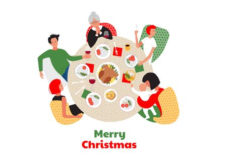 Christmas or New Year dinner. Family around the the table. Ilustración de vector