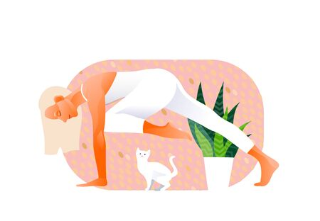 Woman practicing yoga exercise, yoga pose. Cat bothers. White kitten. Design concept of web page design or mobile website. International Yoga Day. Vector illustration Vettoriali