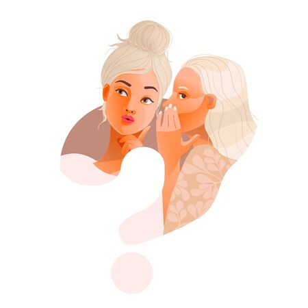 Gossip vector illustration. One excited girl whispers secret to girlfriend. 일러스트