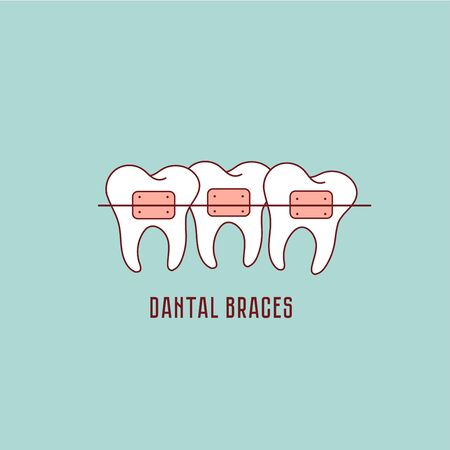 Tooth Braces Process, Aesthetics, Orthodontist icon. Stomatology Dental care. Dental braces. Vector flat illustration.