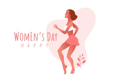 International Women s Day. 8 March. Happy sexy girl in oink dress dancing in the street. Illustration