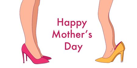 Cute funny little girl wearing big high-heeled mother's shoes. Vector illustration. Mother and daughter.