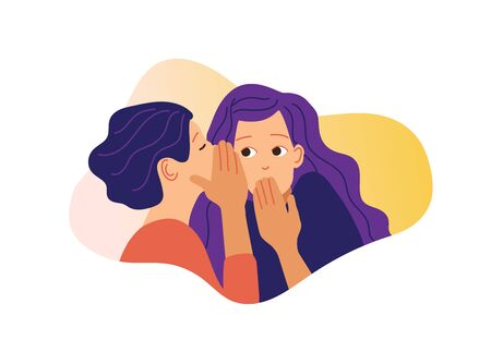 Two girls gossiping vector illustration. One excited girl whispers secret to girlfriend. Illustration