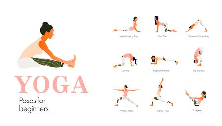 A set of yoga postures female figures for beginners.