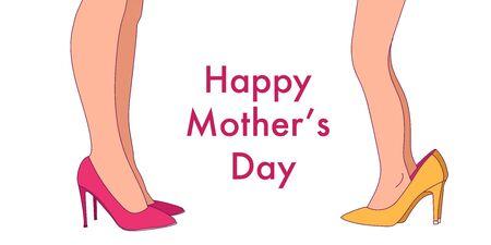 Jolie petite fille drôle portant de grosses chaussures de mère à talons hauts. Illustration vectorielle. Mère et fille.
