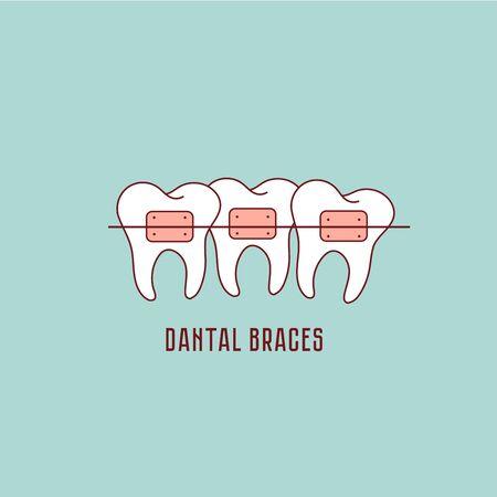 Tooth Braces Process, Aesthetics, Orthodontist icon. Stomatology Dental care.