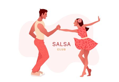 Happy Valentines Day. Salsa in the city. Street dancing. Beautiful couple dancing. People in love.