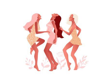 International Women s Day. 8 March. Happy sexy girl in oink dress dancing in the street. Ilustração