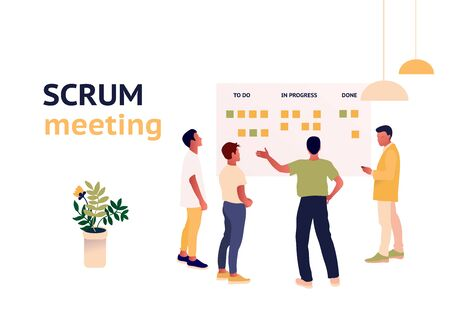 Stand-up meeting vector illustration. Scrum master with team.