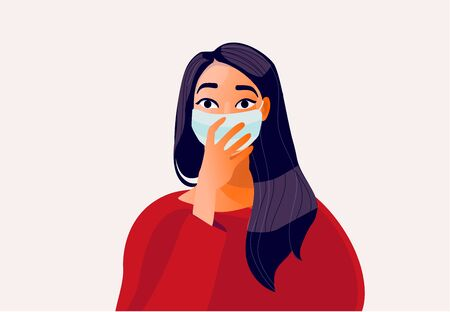 2019-ncov quarantine. Sad woman in protective mask .. Vettoriali