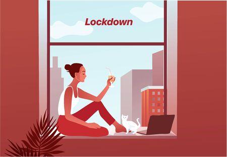 2019-ncov quarantine. Sad woman in protective mask on phone screen.