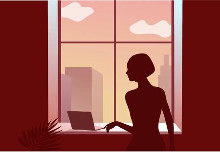 2019-ncov quarantine. Sad woman near the window.  イラスト・ベクター素材