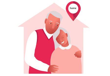 2019-ncov quarantine. Senior couple. Lockdown, quarantine. Family apart.