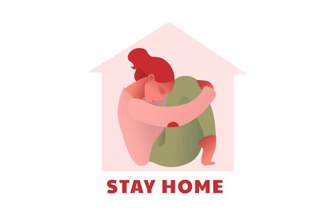 Stay at home type. Lockdown. Covid-2019 quarantine