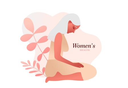 Urinary incontinence, cystitis, involuntary urination woman vector illustration. Bladder problems. Menopause, woman health.