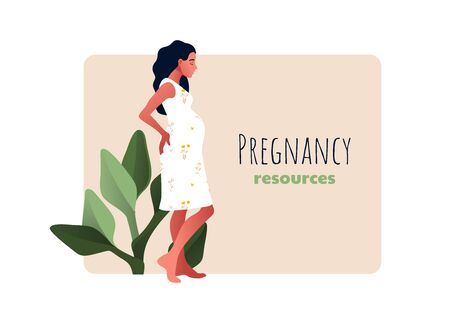 Pregnancy resources type. Sad and pregnant girl. Vectores