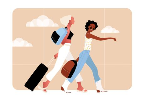 Two tourist characters. Vector in flat style.