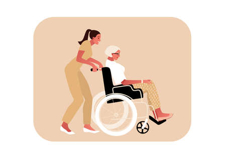 Disabled or temporary disabled stylish sick senior woman sitting in wheelchair. Nurse helps. Female character. Side view vector illustration in flat cartoon style.