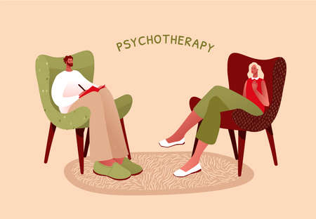 Flat vector illustration. Mental health or ptsd