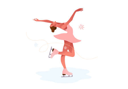 A Girl skating at the rink in the pink costume Çizim