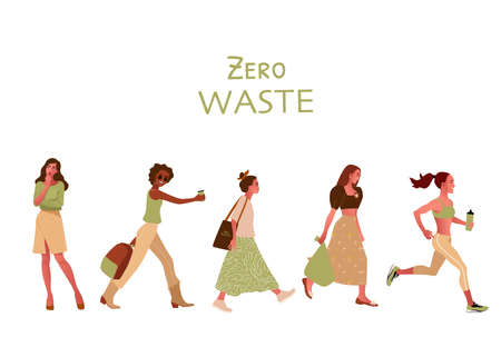 Zero waste or ecology concept with girls Ilustração
