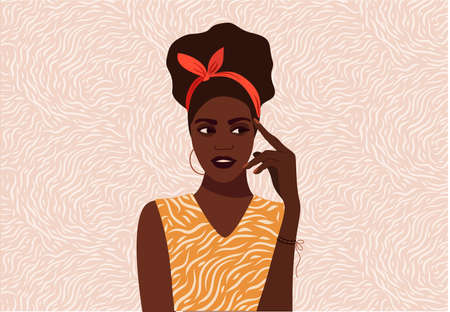 Black girl thinks. Beautiful face, question mark