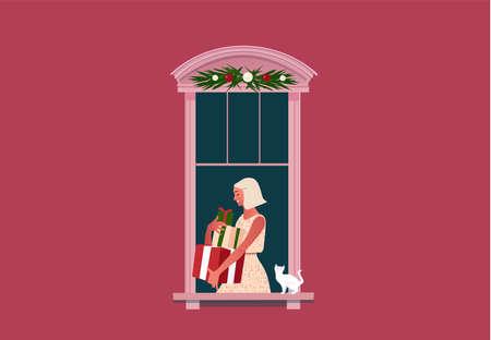 Woman carrying gift box on window frames Иллюстрация
