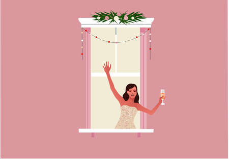 Window frame with girl celebrating new year