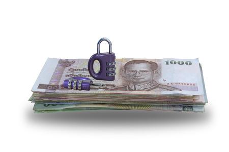 Locks on the thai banknotes photo