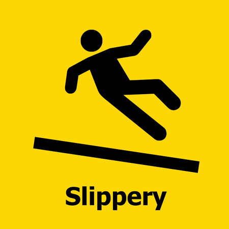 the precaution: Slippery surface sign