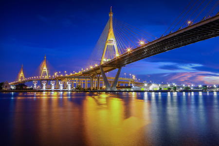 bhumibol: The Bhumibol Bridge at Twilight  The Industrial Ring Road Bridge, Bangkok, Thailand
