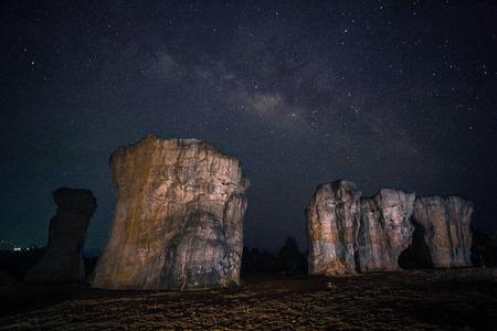 Milky way with Stonehenge of Thailand  Mor Hin khao, Chaiyaphum, Thailand  photo