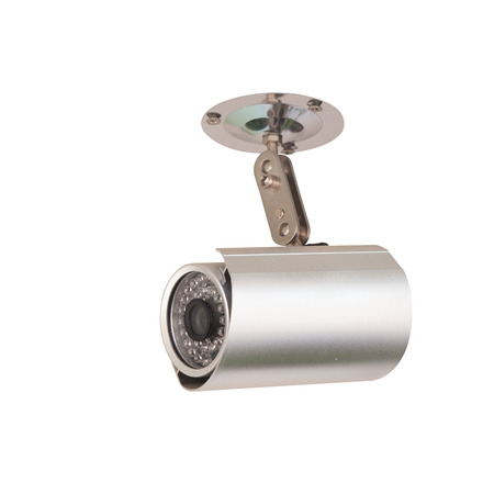 paranoia: CCTV Security Camera with installation  Isolated on white