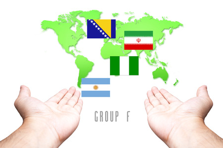 Mullti Flag with Hand and World Map background photo