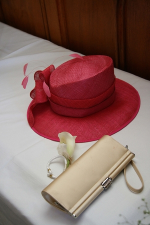 red hat: beautiful red hat and clutch bag Stock Photo