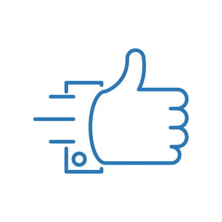 Thumbs up hand isolated icon in movement action